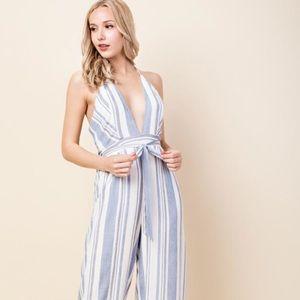 Honey Belle Blue & White Striped Halter Jumpsuit